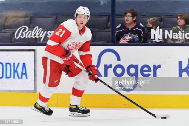 Dennis Cholowski of the Detroit Red Wings skates against the Columbus Blue Jackets at Nationwide Arena on May 8, 2021 in Columbus, Ohio.