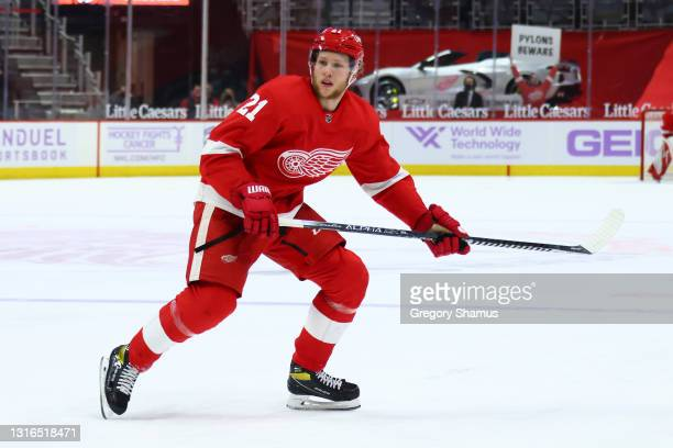 Dennis Cholowski of the Detroit Red Wings skates against the Dallas Stars at Little Caesars Arena on April 24, 2021 in Detroit, Michigan.