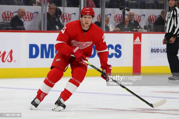 Dennis Cholowski of the Detroit Red Wings skates against the Toronto Maple Leafs at Little Caesars Arena on October 12, 2019 in Detroit, Michigan.