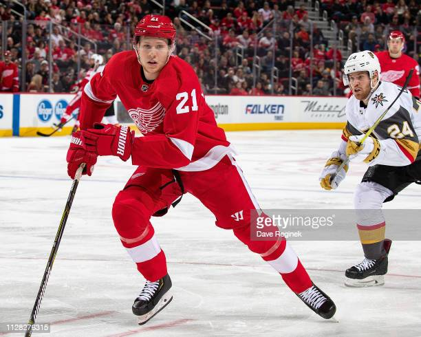 Dennis Cholowski of the Detroit Red Wings skates up ice against the Vegas Golden Knights during an NHL game at Little Caesars Arena on February 7,...