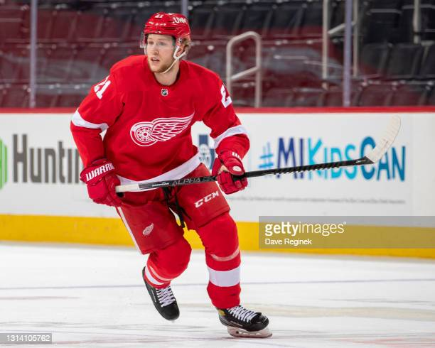 Dennis Cholowski of the Detroit Red Wings skates up ice against the Dallas Stars during an NHL game at Little Caesars Arena on April 22, 2021 in...