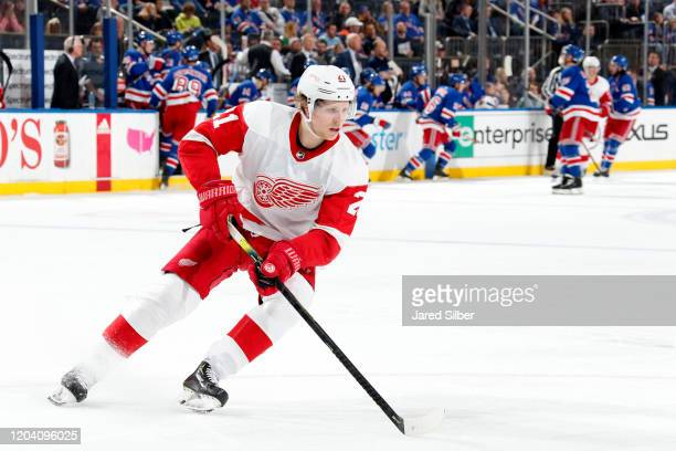 Dennis Cholowski of the Detroit Red Wings skates with the puck against the New York Rangers at Madison Square Garden on January 31, 2020 in New York...