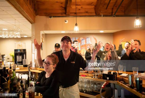 Dennis Coffey reacts after his win during final Jeopardy at Duffys Tavern and Grill where he works as a bartender on Monday Jan 20 2020 The bar was...