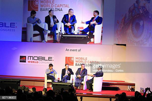 Dennis Crowley, chief executive officer of Foursquare, Peter Chou, chief executive officer of HTC and Stephen Elop,chief executive officer of Nokia...
