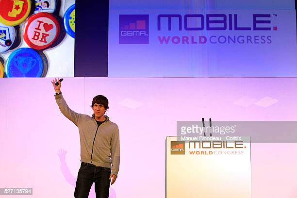Dennis Crowley, chief executive officer of Foursquare, speaks during a keynote event at the Mobile World Congress in Barcelona on February 29, 2012...
