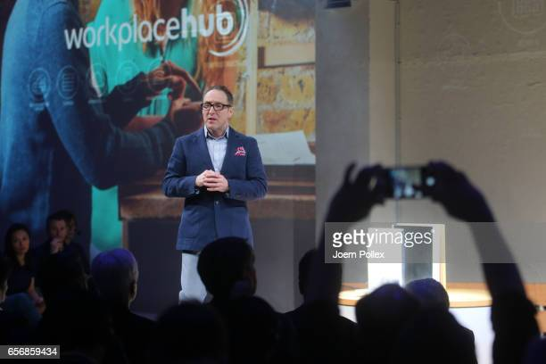 Dennis Curry Director of the Business Innovation and RD Europe speaks during Spotlight Live the Konica Minolta Workplace Hub Launch at Umspannwerk...