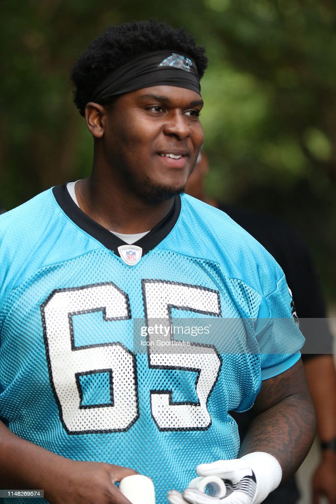 purchase cheap b7091 027c4 Dennis Daley tackle of Carolina during an OTA practice at ...