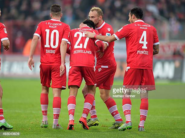 Dennis Daube Eroll Zejnullahu Toni Leistner and Roberto Puncec of 1 FC Union Berlin celebrate after scoring the 11 during the Second Bundesliga match...
