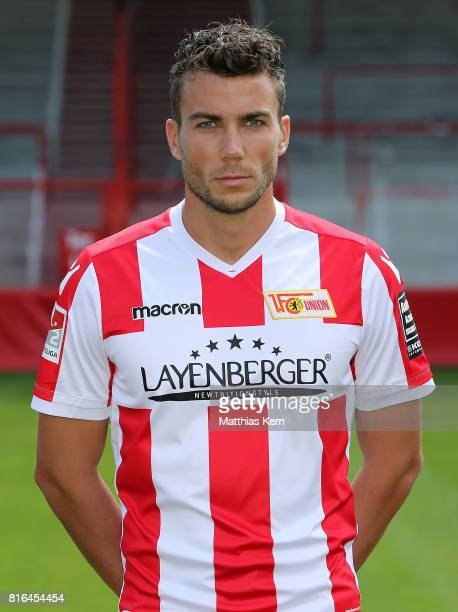 Dennis Daube of 1 FC Union Berlin poses during the team presentation at Stadion an der Alten Foersterei on July 17 2017 in Berlin Germany