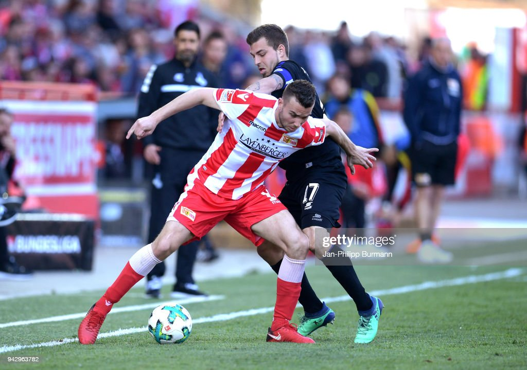 Dennis Daube of 1.FC Union Berlin and Kevin Wolze of MSV Duisburg during the 2nd Bundesliga game between Union Berlin and MSV Duisburg at Stadion an der alten Foersterei on April 7, 2018 in Berlin, Germany.