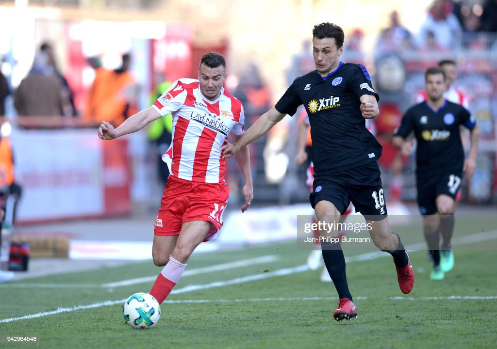 Dennis Daube of 1.FC Union Berlin and Lukas Froede of MSV Duisburg during the 2nd Bundesliga game between Union Berlin and MSV Duisburg at Stadion an der alten Foersterei on April 7, 2018 in Berlin, Germany.