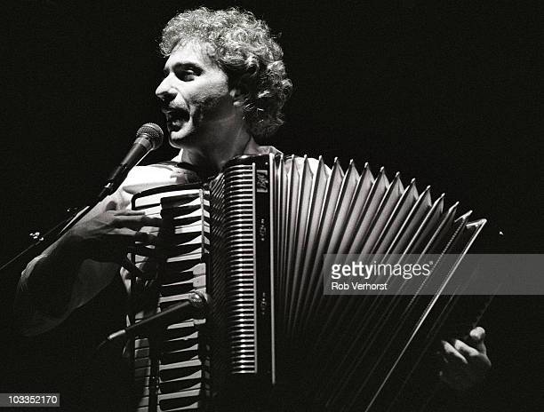 Dennis DeYoung of Styx plays an accordion while performing on stage at Ahoy on 10th November 1981 in Rotterdam Netherlands