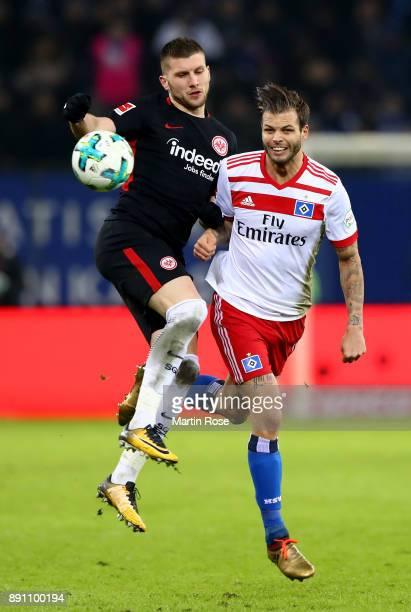 Dennis Diekmeier of Hamburg and Ante Rebic of Frankfurt battle for the during the Bundesliga match between Hamburger SV and Eintracht Frankfurt at...