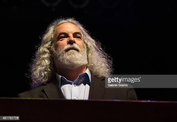 Dennis Drew of 10000 Maniacs performs at RiverEdge Park on July 5 2014 in Aurora Illinois