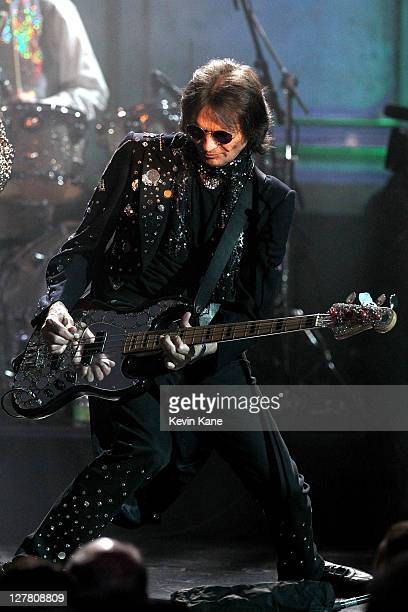 Dennis Dunaway of The Alice Cooper Band performs onstage at the 26th annual Rock and Roll Hall of Fame Induction Ceremony at The Waldorf=Astoria on...
