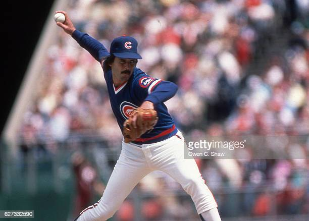 Dennis Eckersley of the Chicago Cubs circa 1984 pitches against the San Diego Padres at Jack Murphy Stadium in San Diego California