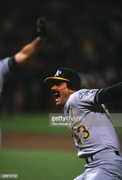 Dennis Eckersley of the Oakland Athletics celebrates the final out of game four of the 1989 World Series against the San Francisco Giants at...