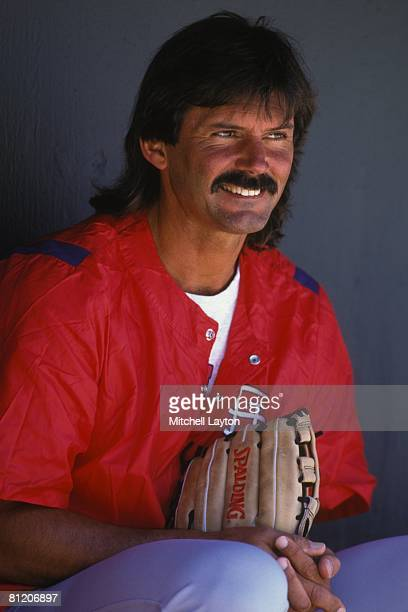 Dennis Eckersley of the St Louis Cardinals before an exbition baseball game against the Philadelphia Phillies on March 23 1997 at Jack Russell...