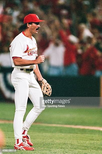 Dennis Eckersley of the St Louis Cardinals celebrates during Game Four of the National League Championship Series against the Atlanta Braves on...