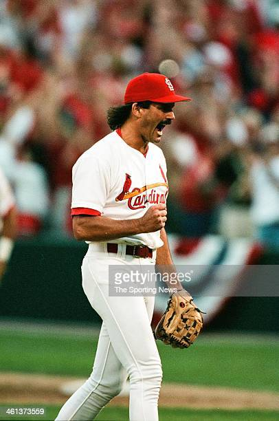 Dennis Eckersley of the St Louis Cardinals celebrates during Game Three of the National League Division Series against the Atlanta Braves on October...