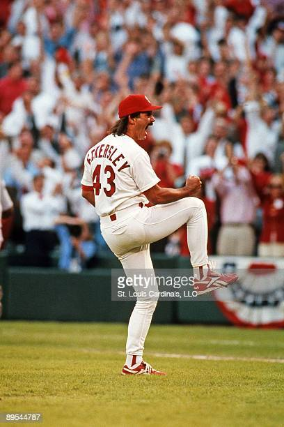 Dennis Eckersley of the St Louis Cardinals celebrates the final out of the National League Division Series between the Cardinals and the Padres on...