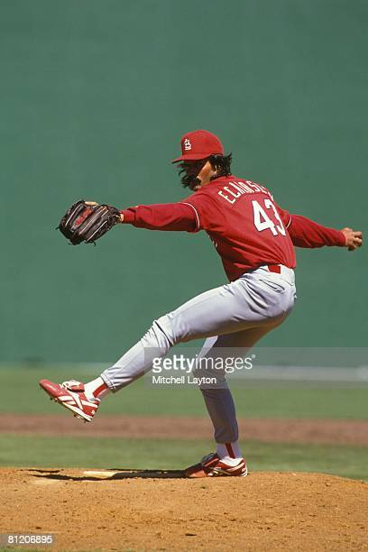 Dennis Eckersley of the St Louis Cardinals pitches during an exbition baseball game against the Philadelphia Phillies on March 23 1997 at Jack...