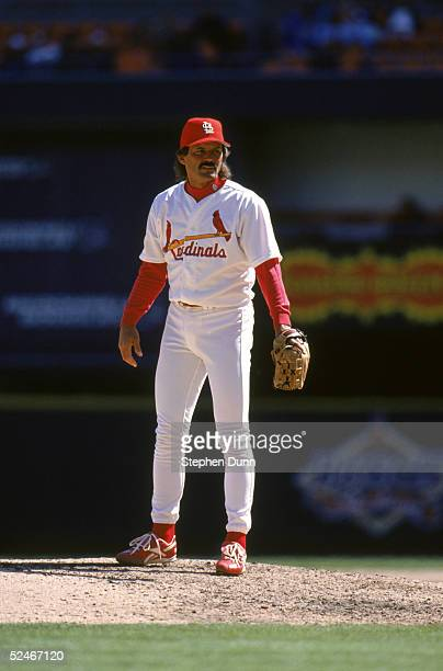 Dennis Eckersley of the St Louis Cardinals stands on the mound during a game against the Houston Astros at Busch Stadium on April 14 1997 in St Louis...