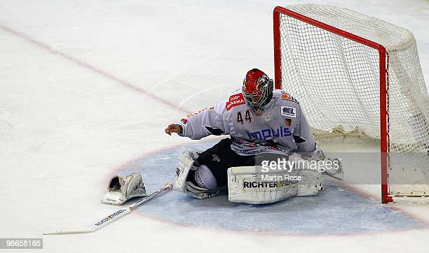 Dennis Endras goalkeeper of Augsburg looks dejected during the DEL play off final match between Hannover Scorpions and Augsburger Panther at TUI...