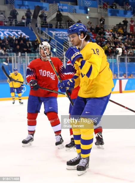 Dennis Everberg of Sweden celebrates after scoring his team's third goal during the Men's Ice Hockey Preliminary Round Group C game between Norway...