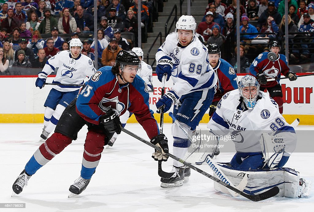 Dennis Everberg #45 of the Colorado Avalanche follows the puck as goalie Andrei Vasilevskiy #88 of the Tampa Bay Lightning defends the goal at Pepsi Center on February 22, 2015 in Denver, Colorado. The Avalanche defeated the Lightning 5-4.