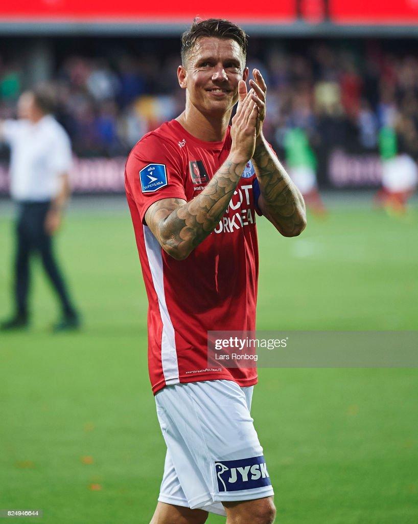 Dennis Flinta of Silkeborg IF celebrates after the Danish Alka Superliga match between Silkeborg IF and AGF Aarhus at Jysk Park on July 31, 2017 in Silkeborg, Denmark.