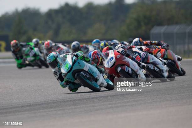 Dennis Foggia of Italy and Leopard Racing leads the field during the Moto3 race during the MotoGP Of Czech Republic at Brno Circuit on August 09,...