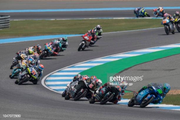 Dennis Foggia of Italy and Sky Racing Team VR46 leads the fiel during the Moto3 race during the MotoGP Of Thailand Race on October 7 2018 in Buri Ram...
