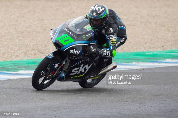 Dennis Foggia of Italy and Sky Racing Team VR46 rounds the bend during the Moto2 Moto3 Tests In Jerez at Circuito de Jerez on March 8 2018 in Jerez...