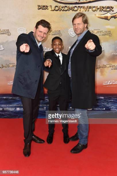Dennis Gansel Solomon Gordon and Henning Baum attend the premiere of 'Jim Knopf und Lukas der Lokomotivfuehrer' at Mathaeser Filmpalast on March 25...
