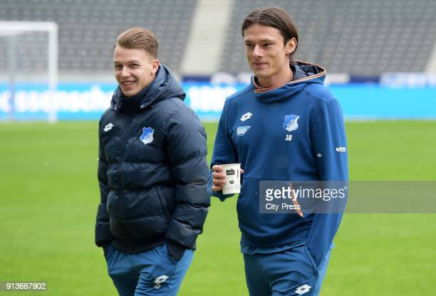 Dennis Geiger and Nico Schulz of the TSG 1899 Hoffenheim before the game between Hertha BSC and TSG Hoffenheim on february 3 2018 in Berlin Germany