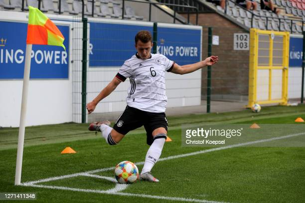 Dennis Geiger of Germany kicks the corner during the UEFA Euro Under 21 Qualifier match between Belgium U21 and Germany U21 at Den Dreef on September...