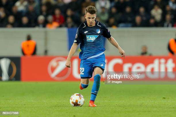 Dennis Geiger of Hoffenheim controls the ball during the UEFA Europa League Group C match between 1899 Hoffenheim and Istanbul Basaksehir FK at...