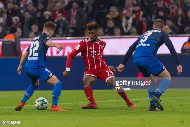 Dennis Geiger of Hoffenheim Kingsley Coman of Bayern Muenchen and Pavel Kaderabek of Hoffenheim battle for the ball during the Bundesliga match...