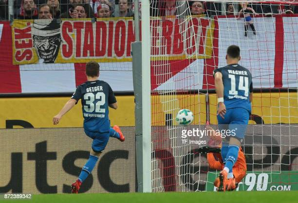 Dennis Geiger of Hoffenheim scores the team`s first goal during the Bundesliga match between 1 FC Koeln und TSG 1899 Hoffenheim at...