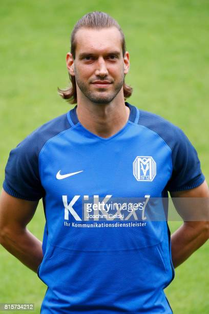 Dennis Geiger of SV Meppen poses during the official team presentation of SV Meppen at Haensch Arena on July 8 2017 in Meppen Germany