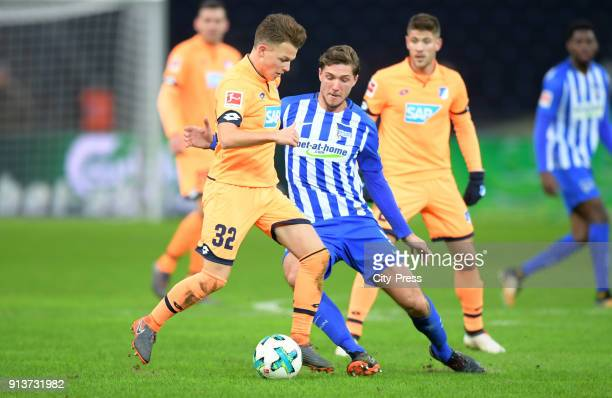 Dennis Geiger of the TSG 1899 Hoffenheim and Niklas Stark of Hertha BSC during the game between Hertha BSC and TSG Hoffenheim on february 3 2018 in...