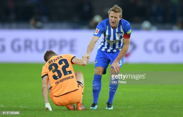 Dennis Geiger of the TSG 1899 Hoffenheim and Per Skjelbred of Hertha BSC during the game between Hertha BSC and TSG Hoffenheim on february 3 2018 in...