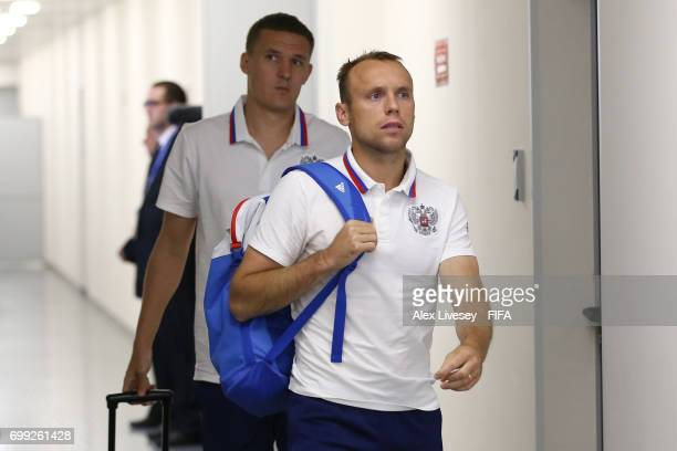 Dennis Glushakov of Russia arrives at the stadium prior to the FIFA Confederations Cup Russia 2017 Group A match between Russia and Portugal at...