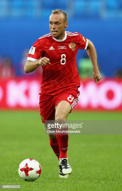 Dennis Glushakov of Russia in action during the FIFA Confederations Cup Russia 2017 Group A match between Russia and New Zealand at Saint Petersburg...