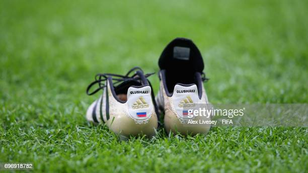Dennis Glushakov of ussia boots are seen during the FIFA Confederations Cup Russia 2017 Group A match between Russia and New Zealand at Saint...