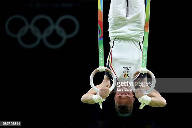 Dennis Goossens of Belgium competes in the Men's Rings Final on day 10 of the Rio 2016 Olympic Games at Rio Olympic Arena on August 15 2016 in Rio de...