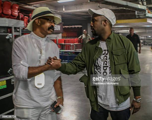 Dennis Graham and Twin backstage at The Summer Sixteen Tour at AmericanAirlines Arena on August 30 2016 in Miami Florida