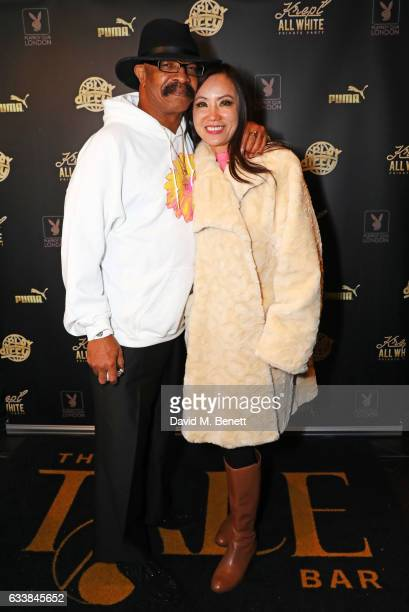 Dennis Graham father of rapper Drake and Jenell Ling attend Krept's all white attire private birthday party at The Playboy Club on February 4 2017 in...