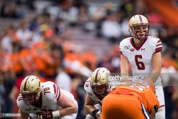Dennis Grosel of the Boston College Eagles stands under center during the first quarter against the Syracuse Orange at the Carrier Dome on November 2...